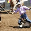 De\'Andre Jackson, Crossett, Ark. finishes his round in the calf roping on day 4 of the International Finals Youth Rodeo IFYR on Wednesday, July 10, 2013 in Shawnee, Okla. Photo by Steve Sisney, The Oklahoman