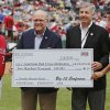 The Big 12 donated $200,000 to the Red Cross for the tornado relief efforts in the Big 12 Championship baseball game between the University of Kansas Jayhawks (KU) and the University of Oklahoma Sooners (OU) at the Chickasaw Bircktown Ballpark on Sunday, May 26, 2013 in Oklahoma City, Okla. Photo by Chris Landsberger, The Oklahoman