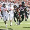 Texas Tech\'s Baron Batch scores a touchdown in front of OU\'s Keenan Clayton, left, and Austin Box during the college football game between the University of Oklahoma Sooners (OU) and Texas Tech University Red Raiders (TTU ) at Jones AT&T Stadium in Lubbock Okla., Saturday, Nov. 21, 2009. Photo by Bryan Terry, The Oklahoman