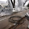 WINTER / COLD / WEATHER / ICE STORM 2007, DAMAGE: Downed trees and power lines along Main Street during a winter storm, in Carney, Okla., Tuesday, December 11, 2007. By Matt Strasen, The Oklahoman ORG XMIT: KOD