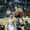 Photo - Norman North's Levi Berry celebrates after beating Brannon Hunt of Ponca City during the Class 6A 160-pound championship match during the state wrestling championships at the State Fair Arena in Oklahoma City, Saturday, Feb. 23, 2013. Photo by Bryan Terry, The Oklahoman