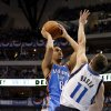 Oklahoma City\'s Eric Maynor (6) shoots the ball over Jose Juan Barea (11) of Dallas during game 2 of the Western Conference Finals in the NBA basketball playoffs between the Dallas Mavericks and the Oklahoma City Thunder at American Airlines Center in Dallas, Thursday, May 19, 2011. Photo by Bryan Terry, The Oklahoman