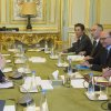 Photo - U.S. Treasury Secretary Jack Lew, left, French President Francois Hollande, right, and France's Finance Minister Pierre Moscovici, 2nd right, pose prior to a meeting at the Elysee Palace in Paris, Tuesday, Jan. 7, 2014. Lew is on a  European tour for two days. (AP Photo/Ian Langsdon, Pool)
