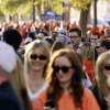 Thousands of people fill University Ave. to look at house decorations during Walkaround at Oklahoma State University\'s homecoming in Stillwater, Okla., Friday, Oct. 19, 2012. Photo by Nate Billings, The Oklahoman