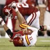 OU\'s Tom Wort brings down Iowa State\'s Jerome Tiller during the second half of the college football game between the University of Oklahoma Sooners (OU) and the Iowa State Cyclones (ISU) at the Gaylord Family-Oklahoma Memorial Stadium on Saturday, Oct. 16, 2010, in Norman, Okla. Photo by Bryan Terry, The Oklahoman