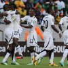 Ghana\'s Wakaso Mubarak, second from left, celebrates with teammates after scoring his second goal during their quarter final of the African Cup of Nations soccer match against Cape Verde at the Nelson Mandela Bay Stadium in Port Elizabeth, South Africa, Saturday Feb. 2, 2013. (AP Photo/Themba Hadebe)
