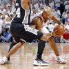 Oklahoma City\'s Derek Fisher (37) looks to drive past San Antonio\'s Gary Neal (14) during Game 6 of the Western Conference Finals between the Oklahoma City Thunder and the San Antonio Spurs in the NBA playoffs at the Chesapeake Energy Arena in Oklahoma City, Wednesday, June 6, 2012. Photo by Chris Landsberger, The Oklahoman