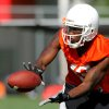Wide receiver Artrell Woods makes a catch during the first Oklahoma State University fall football practice, in Stillwater, Okla., Thursday, July 31, 2008. BY MATT STRASEN, THE OKLAHOMAN