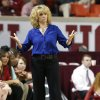 Photo - Oklahoma head coach Sherri Coale facts to a play as the University of Oklahoma Sooners (OU) play the Riverside Highlanders in NCAA, women's college basketball at The Lloyd Noble Center on Thursday, Dec. 20, 2012  in Norman, Okla. Photo by Steve Sisney, The Oklahoman