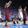 Oklahoma City\'s Russell Westbrook (0) and Oklahoma City \'s Kevin Durant (35) react during Game 1 of the NBA Finals between the Oklahoma City Thunder and the Miami Heat at Chesapeake Energy Arena in Oklahoma City, Tuesday, June 12, 2012. Photo by Chris Landsberger, The Oklahoma