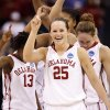 Whitney Hand and the Sooners celebrate their 70-59 win in the NCAA women\'s basketball tournament game between the University of Oklahoma and Pittsburgh at the Ford Center in Oklahoma City, Okla. on Sunday, March 29, 2009. PHOTO BY STEVE SISNEY, THE OKLAHOMAN