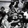 Former OU basketball player Wayman Tisdale. Oklahoma\'s Wayman Tisdale leaps high as he gets a pass to teammate Darryl Kennedy as Arkansas\' Joe Kleine defends during the Sooners\' 84-78 loss to the Razorbacks in the Great Alaska Shootout on Saturday night. Photo taken unknown, Photo published 11/27/1983 in The Daily Oklahoman. ORG XMIT: KOD