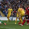 Photo - Crystal Palace's Joe Ledley, center no. 28, scores against Cardiff City during their English Premier League soccer match at Cardiff City Stadium, Cardiff, Saturday April 5, 2014. (AP Photo/PA, Nick Potts) UNITED KINGDOM OUT  NO SALES  NO ARCHIVE