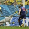 Photo - Netherlands' Robin van Persie, third right, scores the opening goal from the penalty spot during the World Cup third-place soccer match between Brazil and the Netherlands at the Estadio Nacional in Brasilia, Brazil, Saturday, July 12, 2014. (AP Photo/Manu Fernandez)