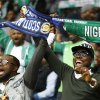 Photo - Nigerian fans cheer ahead of the international friendly soccer match between Nigeria and Scotland at Craven Cottage Stadium in London, Wednesday, May 28, 2014. Nigeria will be in Group F in the upcoming World Cup in Brazil . (AP Photo/Kirsty Wigglesworth)