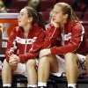 Oklahoma\'s Eden Williams (33), left, and Tara Dunn (43) watch from the bench in the second half during a women\'s college basketball game between the University of Oklahoma (OU) and Cal State Northridge at the Lloyd Noble Center in Norman, Okla., Saturday, Dec. 29, 2012. OU won, 79-57. Photo by Nate Billings, The Oklahoman