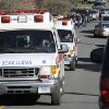 Ambulances leave an area near the scene of a shooting at Sandy Hook Elementary School in Newtown, Conn. where authorities say a gunman opened fire, leaving 27 people dead, including 20 children, Friday, Dec. 14, 2012. (AP Photo/Jessica Hill) ORG XMIT: CTJH110