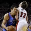 Oklahoma City\'s Nick Collison (4) runs into Miami\'s Mike Miller (13) during Game 3 of the NBA Finals between the Oklahoma City Thunder and the Miami Heat at American Airlines Arena, Sunday, June 17, 2012. Photo by Bryan Terry, The Oklahoman
