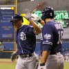 San Diego Padres\' Will Venable, left, is congratulated by Carlos Quentin after his solo home run during the first inning of a baseball game against the Tampa Bay Rays, Friday, May 10, 2013, in St. Petersburg, Fla. (AP Photo/Mike Carlson)