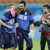 Photo - Italy's goalkeeper Gianluigi Buffon, center, hugs a teammate during a training session at Arena da Amazonia in Manaus, Brazil, Friday, June 13, 2014.  Italy plays in group D of the 2014 soccer World Cup. (AP Photo/Marcio Jose Sanchez)