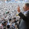 In this Friday, Nov. 23, 2012 photo released by the Egyptian Presidency, President Mohammed Morsi speaks to supporters outside the Presidential palace in Cairo, Egypt. Egypt\'s official news agency says that the country\'s highest body of judges has called the president\'s recent decrees an