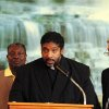 In this Oct. 3, 2012 photo, Rev. William Barber, president of the North Carolina Chapter of the NAACP, speaks of justice and freedom at a vigil held for John McNeil at Holy Calvary Church, in Wilson, N.C. Barber is helping to lead the effort in freeing John McNeil. John McNeil has been incarcerated in Georgia prisons for over 5 years for reportedly shooting an advancing trespasser at the McNeil family home in Cobb County, Georgia.(AP Photo/The Wilson Times, Gray Whitley)