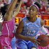 Photo - North Carolina's Diamond DeShields (23) is challenged by North Carolina State's Krystal Barrett, center, during the first half of an NCAA college basketball game in Raleigh, N.C., Sunday, Feb. 16, 2014. DeShields had 38 points in North Carolina's 89-82 win. (AP Photo/Karl B DeBlaker)