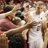 OU\'s Blake Griffin works his way through a crowd of fans after the men\'s college basketball game between the University of Oklahoma and Baylor at the Lloyd Noble Center in Norman, Okla., Tuesday, February 19, 2008. OU won in overtime, 92-91. BY NATE BILLINGS, THE OKLAHOMAN