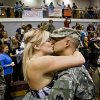 Jenny Henderson kisses Cody Wilson during a ceremony for the Oklahoma National Guardsmen from the 45th Infantry Division\'s return from Operation Iraqi Freedom at Southern Nazarene University on Tuesday, Oct. 14, 2008, in Oklahoma City, Okla. CHRIS LANDSBERGER, THE OKLAHOMAN