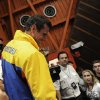 Opposition presidential candidate Henrique Capriles is greeted by supporters after he conceded defeat in the presidential elections at his campaign headquarters in Caracas, Venezuela, Sunday, Oct. 7, 2012. Venezuela\'s electoral council said late Sunday President Hugo Chavez has won re-election, defeating challenger Henrique Capriles.(AP Photo/Sharon Steinmann)