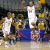 Oklahoma\'s Aaryn Ellenberg (3) and Sharane Campbell (24) celebrate as West Virginia\'s Christal Caldwell (1) and West Virginia\'s Bria Holmes (23) walk off the court after the Big 12 tournament women\'s college basketball game between the University of Oklahoma and West Virginia at American Airlines Arena in Dallas, Saturday, March 9, 2012. Oklahoma won 65-64. Photo by Bryan Terry, The Oklahoman
