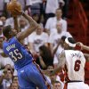 Oklahoma City\'s Kevin Durant (35) shoots the ball beside Miami\'s LeBron James (6) during Game 4 of the NBA Finals between the Oklahoma City Thunder and the Miami Heat at American Airlines Arena, Tuesday, June 19, 2012. Photo by Bryan Terry, The Oklahoman