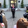 Heather Kulp, spokeswoman for Chevron, gives the latest update on the investigation into Monday\'s refinery fire, during a news conference outside the Chevron headquarters in Richmond, Calif , on Tuesday, Aug. 7, 2012. (AP Photo/The Contra Costa Times, Laura A. Oda)