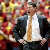 Oklahoma State head coach Travis Ford yells at an official after receiving a technical foul during the first half of an NCAA college basketball game against Iowa State, Wednesday, March 6, 2013, in Ames, Iowa. (AP Photo/Justin Hayworth) ORG XMIT: IAJH102