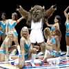 Photo - MASCOT / INTRODUCE / INTRODUCTION / DANCE / DANCING: Rumble the Bison dances as he is introduced to the crowd during the NBA basketball game between the New Orleans Hornets and the Oklahoma City Thunder at the Ford Center,Tuesday, Feb. 17, 2009. PHOTO BY BRYAN TERRY, THE OKLAHOMAN ORG XMIT: KOD