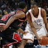 Oklahoma City\'s Kevin Durant (35) looks to get around the defense of Chicago\'s John Salmons (15) in the second half of the NBA basketball game between the Chicago Bulls and the Oklahoma City Thunder at the Ford Center in Oklahoma City, Wednesday, March 18, 2009. Chicago won, 103-96. PHOTO BY NATE BILLINGS, THE OKLAHOMAN
