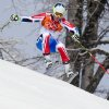 France\'s Alexis Pinturault makes a turn in the first run of the men\'s giant slalom at the Sochi 2014 Winter Olympics, Wednesday, Feb. 19, 2014, in Krasnaya Polyana, Russia. (AP Photo/Alessandro Trovati)