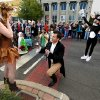 Ryan Hauser, a horse, bag pipes, and about 45 dancers, and actors surprised Norman Arts Council Director Erinn Gavaghan with flowers, music, dancing, drama and an engagement ring as Ryan executed an elaborate marriage proposal on Main Street during the first Fall Fest in downtown on Friday, Oct. 25, 2013 in Norman, Okla. Photo by Steve Sisney, The Oklahoman