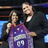 Oklahoma\'s Courtney Paris, right, holds up a Sacramento Monarchs jersey as she poses with WNBA president Donna Orender after Paris was chosen as the seventh pick overall in the WNBA basketball draft, Thursday, April 9, 2009, in Secaucus, N.J. (AP Photo/Bill Kostroun) ORG XMIT: NJBK107