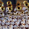Members of the Texas band play in the stands during the second half of a college football game between the Oklahoma State University Cowboys (OSU) and the University of Texas Longhorns (UT) at Darrell K Royal-Texas Memorial Stadium in Austin, Texas, Saturday, Oct. 15, 2011. OSU won, 38-26. Photo by Nate Billings, The Oklahoman