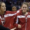 Oklahoma\'s Maddie Manning (23) and Whitney Hand react after losing to Tennessee at the Oklahoma City Regional for the NCAA women\'s college basketball tournament at Chesapeake Energy Arena in Oklahoma City, Sunday, March 31, 2013. Photo by Sarah Phipps, The Oklahoman