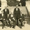 This circa 1920s photo provided by The Preservation Society of Newport County shows butler Ernest Birch, center, surrounded by footmen next to the terrace of The Elms mansion in Newport, R.I. Newly discovered photographs, documents and family histories have inspired the creation of a tour about servants at The Elms, echoing themes of the British drama program,