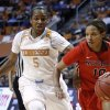 Photo - Mississippi guard Diara Moore (10) drives against Tennessee guard Ariel Massengale (5) during the second half of an NCAA college basketball game Thursday, Jan. 9, 2014, in Knoxville, Tenn. Tennessee won 94-70. (AP Photo/Wade Payne)