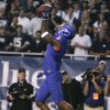 Photo -   Boise State's Jamar Taylor intercepts a Brigham Young pass during the first half of an NCAA college football game Thursday, Sept. 20, 2012, in Boise, Idaho. (AP Photo/Matt Cilley)