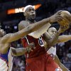Miami Heat\'s LeBron James (6) is fouled as he goes to the basket by Los Angeles Clippers\' DeAndre Jordan, left, during the first half of an NBA basketball game in Miami, Friday, Feb. 8, 2013. (AP Photo/Alan Diaz)