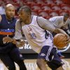 Oklahoma City\'s Kevin Durant drives past Oklahoma City\'s Derek Fisher, left, during practice for Game 3 of the NBA Finals between the Oklahoma City Thunder and the Miami Heat at American Airlines Arena in Miami, Saturday, June 16, 2012. Photo by Bryan Terry, The Oklahoman