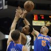 Boston Celtics\' Jared Sullinger (7), center, is fouled by New York Knicks\' Steve Novak (16) as New York Knicks\' Jason Kidd (5) defends in the first half of an NBA preseason basketball game Saturday, Oct. 13, 2012, in Hartford, Conn. (AP Photo/Jessica Hill)