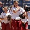Oklahoma\'s Keilani Ricketts walks off the field after OU\'s win over South Florida in a Women\'s College World Series game at ASA Hall of Fame Stadium in Oklahoma City, Thursday, May 31, 2012. Photo by Bryan Terry, The Oklahoman