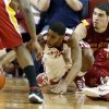 Oklahoma\'s Cameron Clark (21) dives for a loose ball in the second half as the University of Oklahoma Sooners (OU) men defeat the Iowa State Cyclones 86-69 in NCAA, college basketball at Lloyd Noble Center on Saturday, March 2, 2013 in Norman, Okla. Photo by Steve Sisney, The Oklahoman