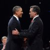 President Barack Obama shakes hands with Republican presidential nominee Mitt Romney during the first presidential debate at the University of Denver, Wednesday, Oct. 3, 2012, in Denver. (AP Photo/Pool-Michael Reynolds)